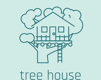 Tree House Icons with Line