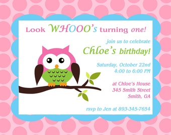 Printable Owl theme birthday party invitation