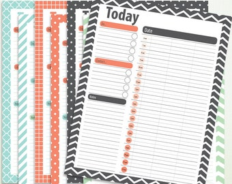 Daily Planner Printable Set  - PDF - 8.5 x 11 and A4 - Instant Download & Printable - G4001