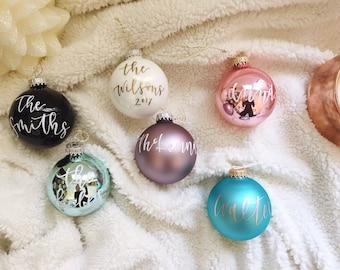 Custom Ornament- SMALL Glass Ornament, Calligraphy Ornament, HandLettered Ornament, Name Ornament, Christmas Gift, Christmas Decor
