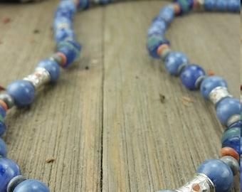 Vintage Liz Claiborne Blue Bead Necklace with Sun Design Beads