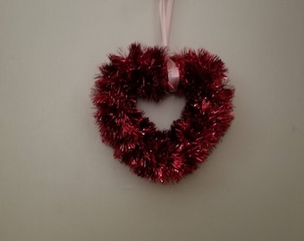 Red Tinsel Heart 9 inches in diameter