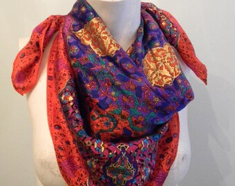 Vintage 70s Bohemian Silk Red Scarf