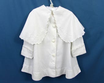 Antique White Baby Coat Christening Coat - Linen - embroidery - Victorian - c 1890s