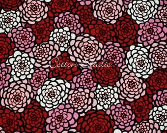 Tissu japonais chrysanthème rouge par la Cour de la moitié japonaise en Kimono moderne impression Floral
