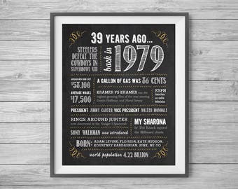 39th Birthday or Anniversary Chalk Sign, Printable 8x10 and 16x20, Party Supplies, 39 Years Ago in 1979, Instant Digital Download