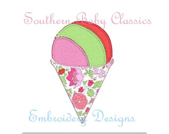 Snow Cone Shaved Ice Blanket Stitch Applique Design File Boy Girl Cute Embroidery Machine Popsicle Ice Cream  Summer Digital