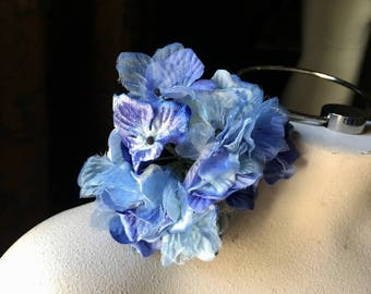 Blue Hydrangea Silk Flowers for Millinery, Bridal, Boutonnieres,  Floral Design MF209