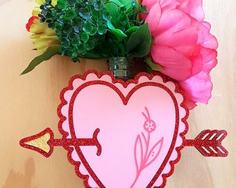 Pink and Red Heart and Arrow Vase