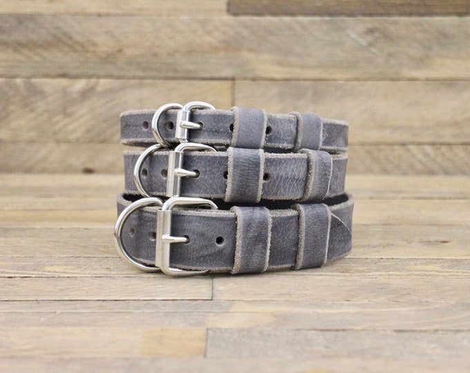 Dog collar, Leather collar, FREE ID TAG, Silver hardware, Dog gift, Grey stone, Handmade leather collar, Small size, Dog collars, Dog gift.