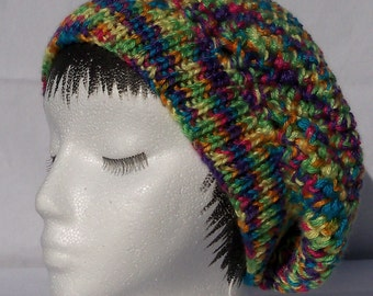 Crochet Tam, Reversible, multiple bright colors, knitted band, ready to ship