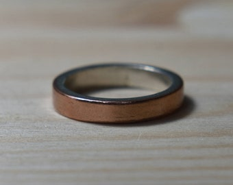 Womens Wedding Ring Copper. Unisex Copper Wedding Band. Copper Women Wedding Ring. Copper Women Wedding Band. Copper and Silver Wedding Ring