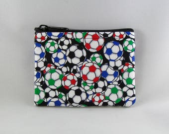 Multi Colored Soccer Balls Coin Purse - Coin Bag - Pouch - Accessory - Gift Card Holder
