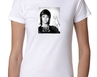 Jane Fonda Mugshot - Anti-war - Women's White T-Shirt - Black and White