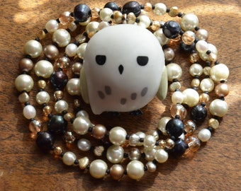 Hedwig the Owl - Long freshwater pearls and glass necklace with repurposed Hedwig the snowy owl keychain