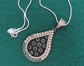 Sterling Silver Necklace, Vintage Teardrop Pendant, Emerald Pendant, CZ Pendant, Cobra Chain Necklace