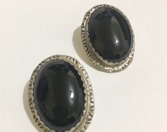 SVR Vintage Sterling Silver Black Onyx Southwestern Native American Signed C.B earrings