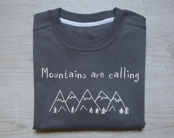 Mountains are calling sweater slouchy sweatshirt soft vintage womens mens sweatshirt camping hiking quotes sweater dark gray
