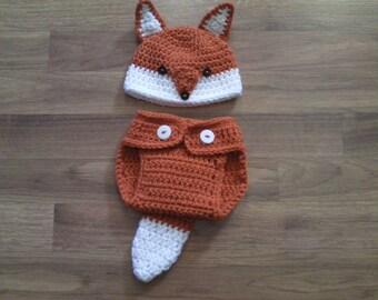 Fox Hat & Diaper Cover Set - Crochet