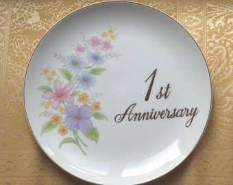 Vintage Papel 1st Anniversary Plate / 1st  Wedding Anniversary Plate / Vintage Japan Porcelain Plate / First Wedding Anniversary / Japan