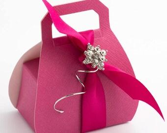 10 Hot Pink Handbag Favour Boxes