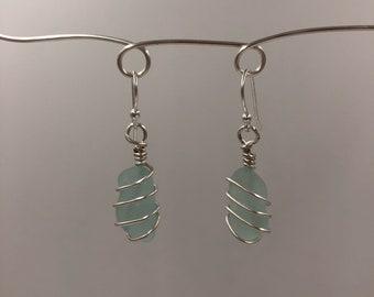 Seafoam beachglass earrings