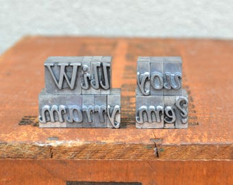 Will you marry me - Vintage letterpress - Valentine's day gift - unique engagement, marriage proposal TS1006