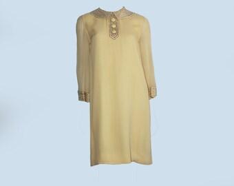 Gorgeous 60s Vintage Pastel Yellow Silk Beaded Peter Pan Collar Tunic Shift Dress