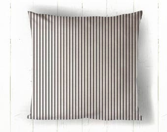 Black Ticking Pillow Cover - Black and White Stripe Pillow, Farmhouse Decor, Farmhouse Pillow,  16 x 16, 18 x 18
