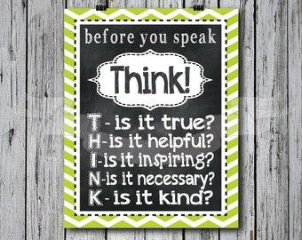 Green - Think before you Speak Chalkboard Print, typography, subway art, children, playroom, bedroom