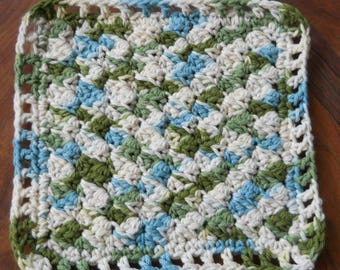 Crochet dishcloths- blue/green and off white