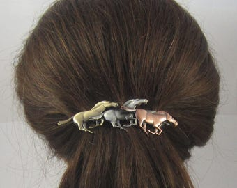 HORSES FRENCH BARRETTE 80mm- Horse Hair Clip- Equestrian Gift- Hores Lover Gift