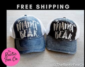 Monogrammed Hat, Trucker Hat, Distressed Hat, Womens Trucker Hat, Distressed Trucker, Custom Glitter Hat, Mom Trucker Cap, Womens Hat