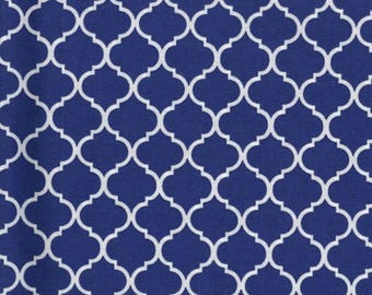 Mini Quatrefoil Fabric White on Royal Blue 100% Cotton