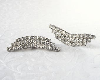 Pretty Little Wing Rhinestone Shoe Clips Vintage Costume Jewelry Wedding Bridal Formal Evening Prom Stage Theater Halloween Chevron Wings