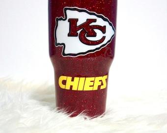 Glitter Football tumbler Kansas City Chiefs inspired 20oz 30oz Ozark Trail Yeti