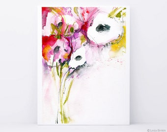 Watercolor abstract, abstract flowers, watercolor abstract art, red pink flowers, bright watercolor, bright floral print, large watercolor