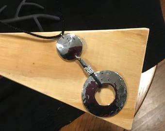 Silver Disc Pendant Necklace