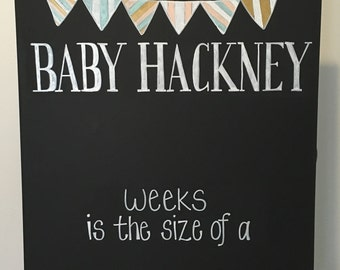 Hand Painted Reusable Chalkboard Poster for Weekly Pregnancy Pictures
