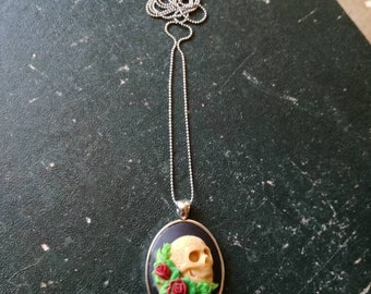 Floral Long Sugar Skull cameo necklace