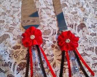 Wedding Cake Server and Knife set with handmade Red Flowers with Red and Black streamers, Wedding Cake Knife