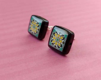 Black Onyx and Sterling Silver Post Earrings, Turquoise & Pink Spanish, Mexican, Catalina and Mediterranean Tile Inspired Wanderluster