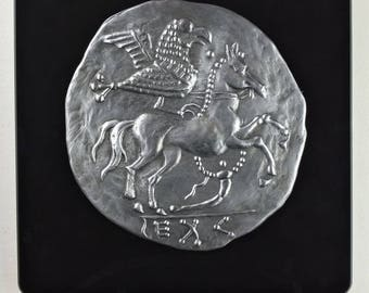 Hawk on Celtic coins - relief pewter horse