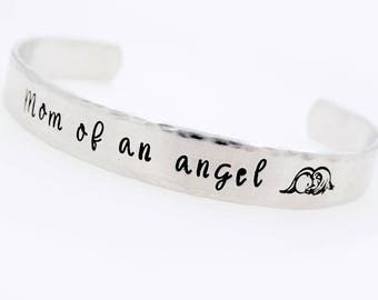 Infant Loss, Custom Memorial , Mom of an Angel, Baby Angel, Miscarriage Jewelry, Infant Baby Loss, Personalized Hand Stamped, Adjustable