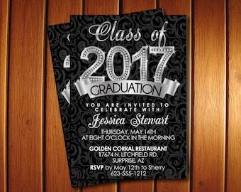 Diamond Graduation Announcement for College or High School, Printable Silver Graduation Invitation, 2018