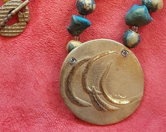 Bronze and Clay Bead Necklace
