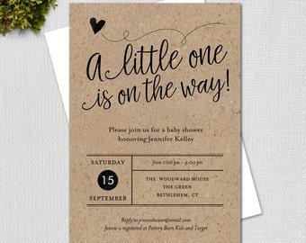 Rustic Baby Shower Invitation,  Fancy Script Gender Neutral Kraft Paper Printable Digital Invitation, #1234