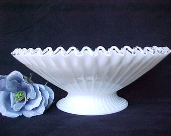 "Mid Century Fenton #5823 SC Silver Crest 11"" Footed Bowl With Ribs, Vintage Petticoat Glass Fruit Bowl"