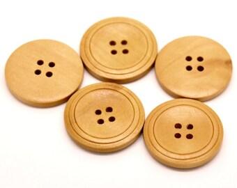 Bouton de bois naturel de 3cm - ensemble de 3 boutons en bois naturel