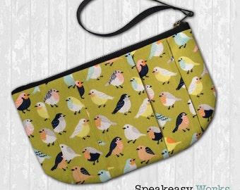 Green Birdies—Pleated Clutch/Wristlet